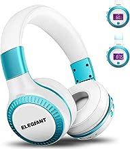 Bluetooth Headphones, ELEGIANT On Ear Bluetooth Headset Foldable with Mic FM Radio Micro SD Card Slot Wired and Bluetooth Headphones for iPhone X 8 7 6S 6/Android Phones/i Pad/Laptop/PC White & Blu