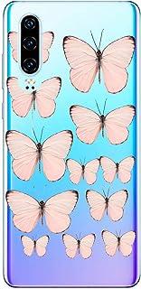 Suhctup Compatible con Huawei P10 Lite Funda de Transparente Silicona con Dibujos Mariposa Lindo Diseño Patrón Cárcasa Ultrafina Suave TPU Antigolpes Bumper Protección Caso-A3
