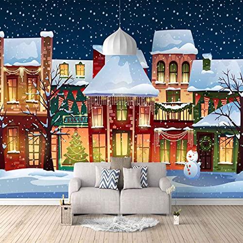 FVGKYS Papel Pintado Autoadhesivo Moderna Patrón De Iglú De Navidad Papel Tapiz Sala De Estar Dormitorio Tv Sofá Fondo Pintura De Pared Decoración Del Hogar Murales Personalizado 3D 250x175cm