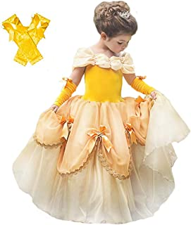 Princess Belle Costume Halloween Party Fancy Dress Up Girls Luxury Puffy Ball Gown Cosplay Yellow Dress for Kids