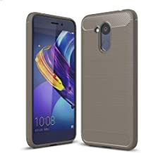 For Huawei Honor V9 Play Brushed Texture Carbon Fiber Shockproof TPU Rugged Armor Protective Case (Black) (Color : Grey)