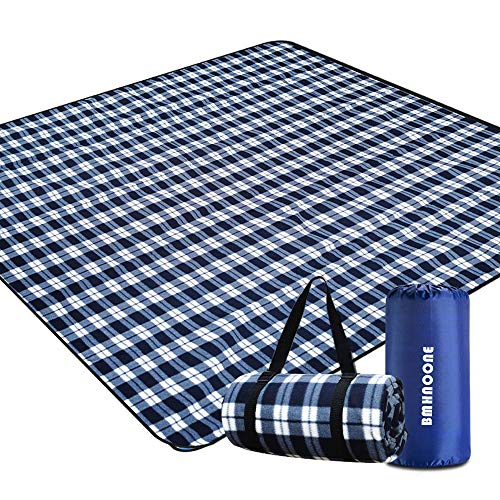 BMHNOONE Outdoor Picnic Blanket, Extra Large Picnic Blanket 80'x80' with Backpack for Family, Foldable Waterproof Picnic Outdoor Blanket Picnic Mat for Camping Hiking Travelling