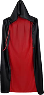 Adult Vampire Death Halloween Hoodie/Solid Collar Cape Reversible Black Red Cloak