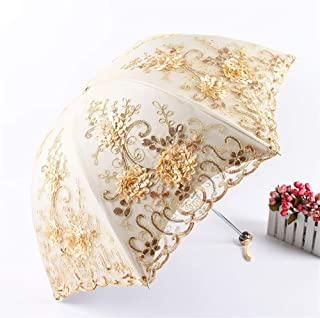 AUWANGAOFEI Embroidery Lace Vinyl Double Folded Umbrella Collapsible Dual UV Barometer (Color : Apricot, Size : 8K)