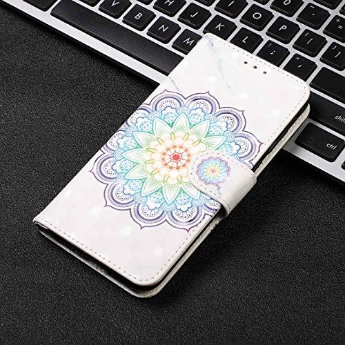 ZHANGYOUDE Funda de Cuero Abierta para Pintar 3D, Izquierda y Derecha, para iPhone X y XS, con Soporte y Ranura para Tarjeta y Cartera y Pulsera (Color : Mandala Pattern)