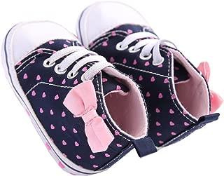 waylongplus Infant Canvas Soft Sole Anti-Slip Prewalker Toddler Crib Shoes Love Print Sneaker (Pink Size 3)
