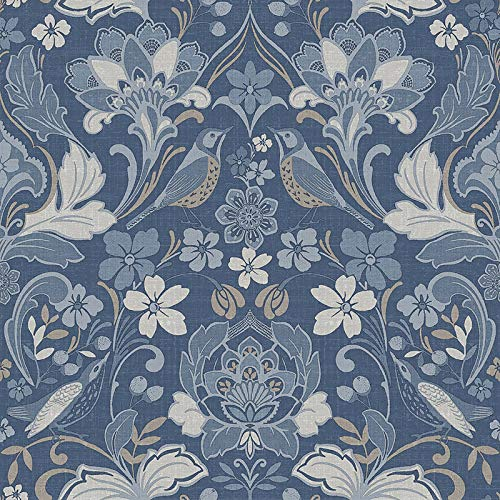 Arthouse 676002 Folk Floral Tapete Kollektion Bloom, Denim Blau, 10.05 x 0.53 m