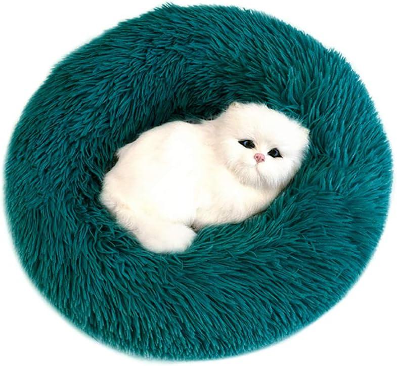 Sunnykud Cama para mascotas de lujo, redonda, de felpa, para mascotas, en forma de Doughnut, cama para perros y gatos, mullida, suave, cojín para perros, sofá para perros, base resistente al agua