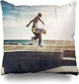Throw Pillow Cover Cushion Case Square 18x18 Inch Skatepark Blue California Jung Skateboarder Jumps High Tree Flips His Skateboarding Sports Recreation Home Decor