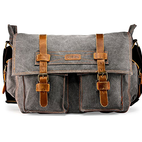 GEARONIC Mens Canvas Leather Messenger Bag