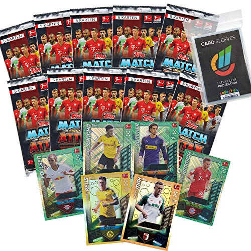CAGO Topps Match Attax - 2019/20 - 10 Booster(5 Karten) + alle 4 Club100 Karten + LE1+LE9 + Collect-it Hüllen Sleeves