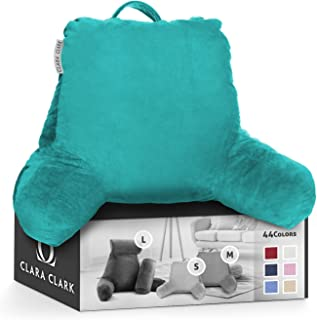 Clara Clark Bed Rest Reading Pillow with Arms and Pockets, Teal, Medium