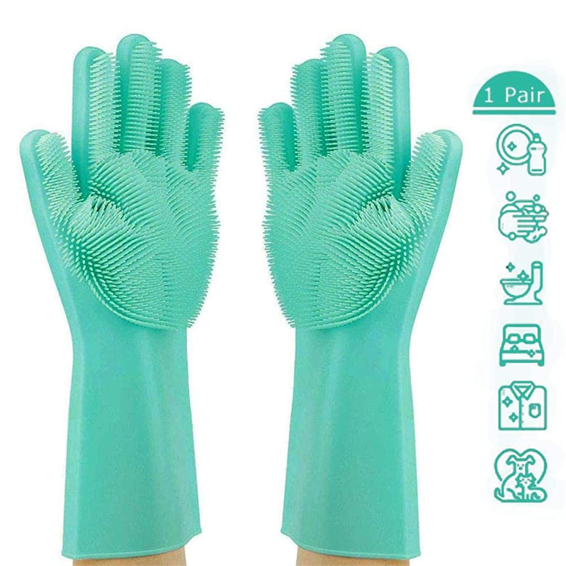 Magic Silicone Dishwashing Gloves,Reusable Silicone Brush Scrubber Gloves with Long Bristles,Heat Resistant Great for Cleaning Dishwashing,Kitchen and Bathroom(Upgraded Green)