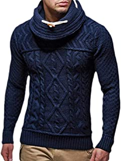 Macondoo Men's Long Sleeve Jumper Cable Knit Turtle Neck Top Sweater