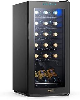 WIE 18 Bottle Wine Refrigerator Compressor System, Red and White Wine Fridge Freestanding Refrigerator Cellar Digital Temperature Display Auto-Defrost Compression 41�-64�F/5�C-18�CWine Aerator Pourer