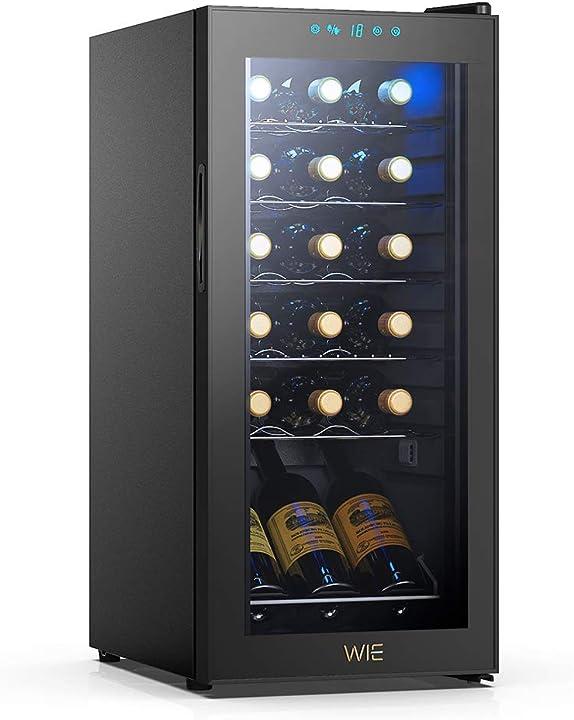 Cantinetta vino, 18 bottiglie mini frigo bar frigorifero per vini e bevande, temperatura digitale  wie WIWCJC18BADX-US