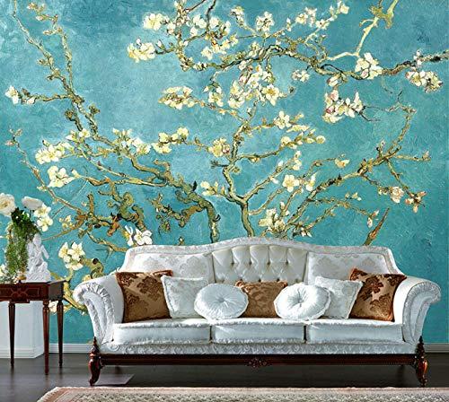 Van Gogh Ölgemälde Aprikosenblume 3d Wandbild TV Hintergrundbild Wohnzimmer Sofa nahtlose Wandverkleidung Film Tapete fototapete 3d effekt tapete tapeten wald vintage-350cm×256cm