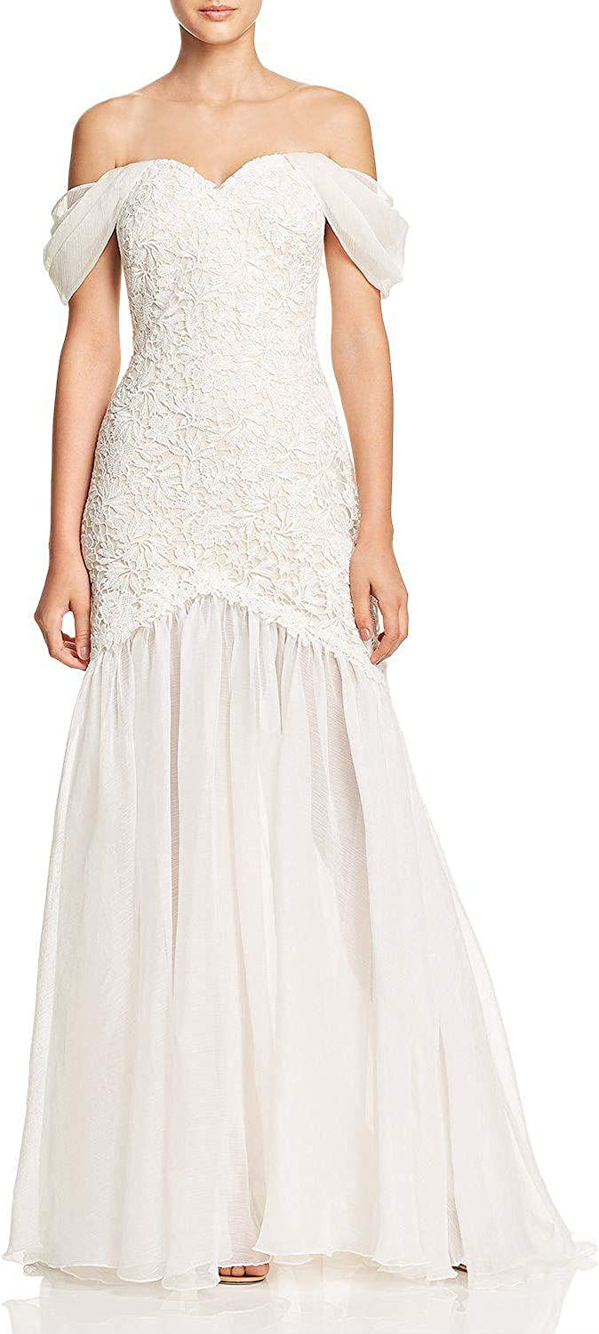 Wanshaqin Women's OffTheShoulder Sweetheart Bridal Lace Embroidered Wedding Party Gown Occasions Dress