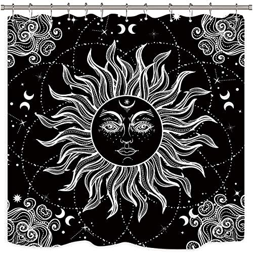 Cortina de ducha con diseño de mandala celestial, color blanco y negro, con medallón, tela floral, poliéster, resistente al agua, 172 x 172 cm