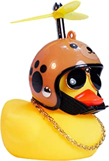 Yarssir Rubber Duck Toy Car Ornaments Yellow Duck Car Dashboard Decorations with Propeller Helmet for Adults, Kids, Women,...