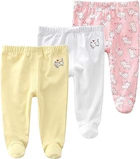 Pack de 3 Pantalones para Bebé Niñas Leggings con Pies de Algodón Pantys, 0-3 Meses