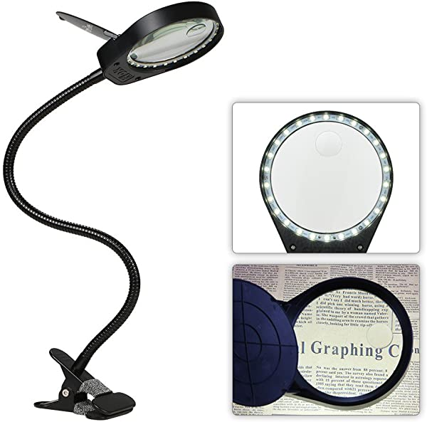 LED 3X 10X Magnifier Glass With Clamp Clip Table Light Desk Lamp Magnifying Lens Design Illuminated Dimmable Brightness Agjustable Flexible Portable For Printing Machinery Carving