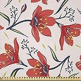 ABAKUHAUS Blumen Stoff als Meterware, Vintage Tulpe Blumen,