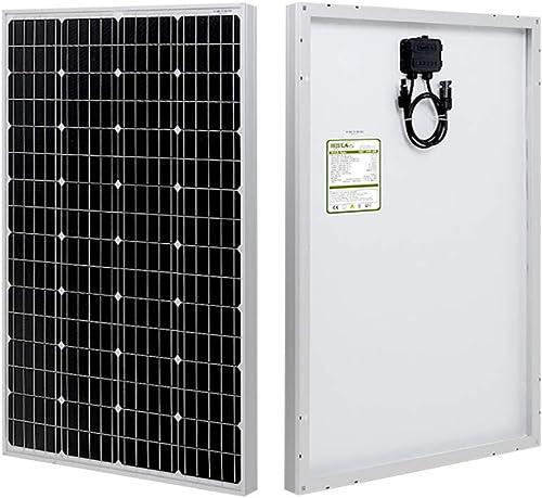 HQST 100 Watt 12 Volt Monocrystalline Solar Panel with Solar Connectors High Efficiency Module PV Power for Battery C...
