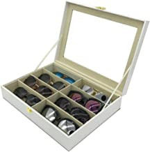 UnionPlus 8-Slot Eyeglass Sunglass Glasses Organizer Collector - Crocodile Faux Leather Storage Case Box (White Croco)