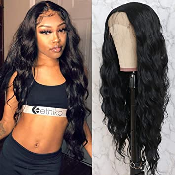 Amazon.com : QD-Tizer Black Long Loose Curly Wave Lace Front Wigs with Baby  Hair Heat Resistant Glueless Synthetic Lace Front Wigs for Fashion Women :  Beauty & Personal Care