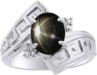 Juego de anillos de diamantes y zafiros de estrella negra en plata de ley, diseño de llave griega, anillo de piedra natal ...