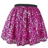 Flofallzique Pink Glitter Skirt Girls Sequins Shorts Sparkle Toddler Tutu Kids Fashion Clothes(6, Pink)