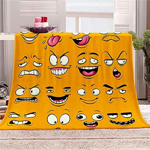 LOVEXOO 3D Impresa Cubierta de Cama Mantas de Sofa Emoticonos 130x150 cm 100% Microfibre Extra Suave - Manta de para Infantil Hogar Viajar Black Friday