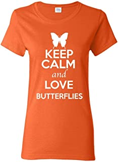 ZoDong Ladies Keep Calm and Love Butterflies Animal Lover T-Shirt Tee