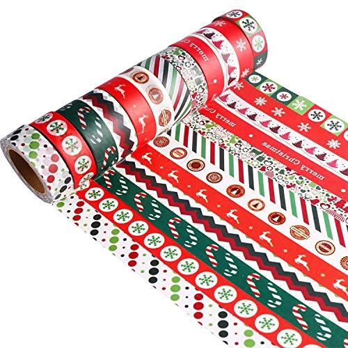 HOWAF Natale washi Tape Set di 12 Rotoli, Nastro Adesivo per mascheratura Decorativa, Fai da Te di Scrapbooking, confezioneamento Regalo de Natale