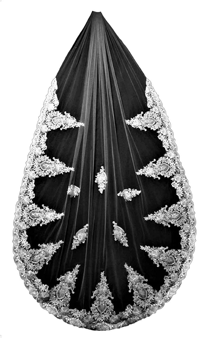 Wedding Veils for Brides Cathedral Length 1 Tier Lace Chapel Veils with Comb