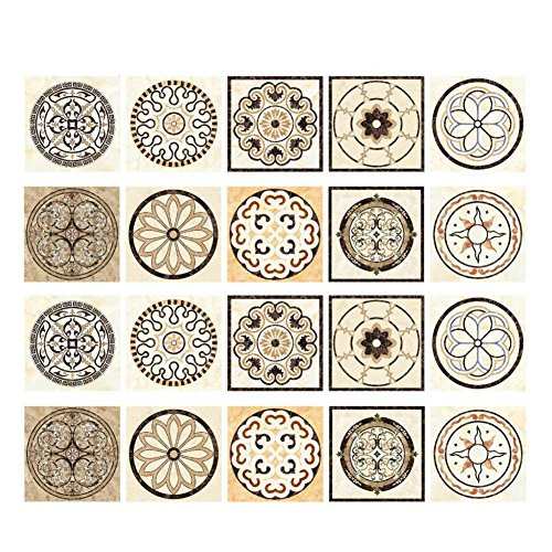 Momangel - 20 pegatinas autoadhesivas para azulejos de estilo nórdico, PVC, cuadradas, para pared, cocina, baño, decoración 20 x 20 cm