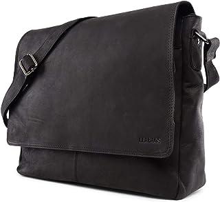 LEABAGS Oxford Umhängetasche Leder Laptoptasche 15 Zoll aus echtem Büffel-Leder im Vintage Look, LxBxH: ca. 38x10x31 cm - Schwarz