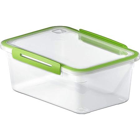 Rotho Memory Boîte Rectangulaire de Conservation des Aliments de 2 l avec Couvercle, Plastique (PP) sans BPA, Transparent / Vert, 2 l (23,0 X 16,0 X 9,5 cm)