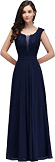 MisShow Women's Long Prom Lace Applique Dress Formal Bridesmaid Wedding Gowns