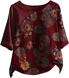 L9WEI Damen Linnen blouse zomer ronde hals 3/4 mouw tops linnen blouse lang hemd grote maten retro bedrukt bloemenpatroon ...