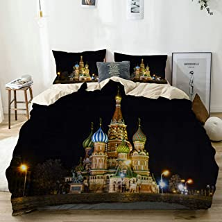 Mokale Duvet Cover King,Fantasy Colorful Castle Night Scene Saint Basil's Cathedral Moscow Russia with Lamplight,100% Washed Microfiber 3pcs Bedding Set with 2 Pillow Shams,Reversible Beige
