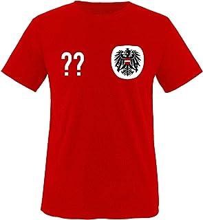 Comedy Shirts Kinder Fußball T-Shirt bedruckbar - Wunschname & Nummer - WM/EM/ÖSTERREICH - Rundhals Tshirt für Mädchen 6 Jungen in Weiß u. Rot