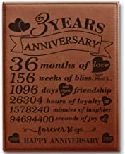 BELLA BUSTA- 3 Years of marriage-2016->2019- Years,Months, Weeks, Days, Hours, Minutes, Seconds-3rd Our 3rd Wedding Anniversary- Engraved Leather Plaque (7