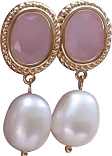 Pendientes vintage de perlas blancas de agua dulce