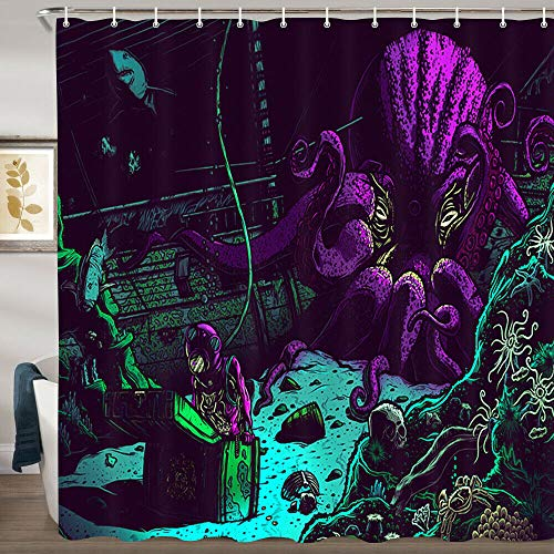 JYEJYRTEJ Taucher und lila Tintenfisch Dekorativer Duschvorhang kann gewaschen und getrocknet Werden,10Haken,120X180cm,geeignet für Badezimmer