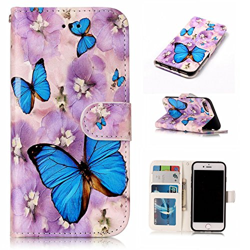 Wallet Case for iPhone SE 2020, 4.7 Inch iPhone 7/8 Wallet Case, Techcircle Premium PU Leather Soft Back Cover Magnetic Folio Case with Card Holder/Cash Slot/Kickstand Protective Case, Blue Butterfly