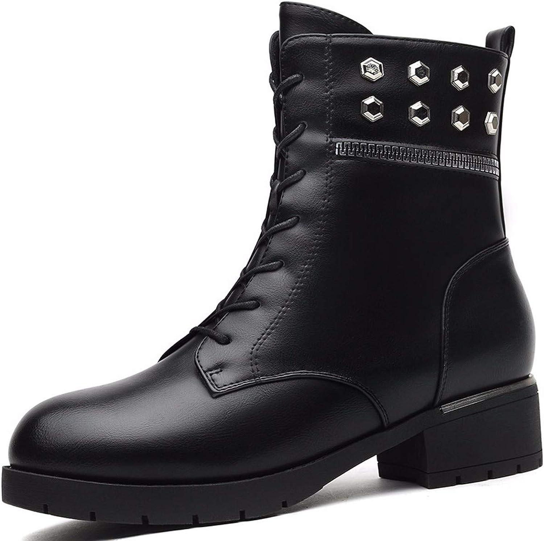 GTVERNH Women's shoes Martin Boots Fashion Leisure Short Fur Inside Black Thirty-Five