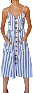 Syban Womens Holiday Striped Ladies Summer Beach Buttons Party Dress