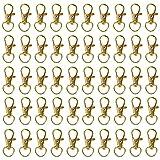 Belle Vous Mini Cierre de Langosta Giratorio Metal Dorados (Pack de 50) Mosquetones Pequeños 33 mm de Largo – Ganchos Premium para Lanyard, Aros, Cremalleras, Manualidades, Llaveros, Joyas, Cadenas